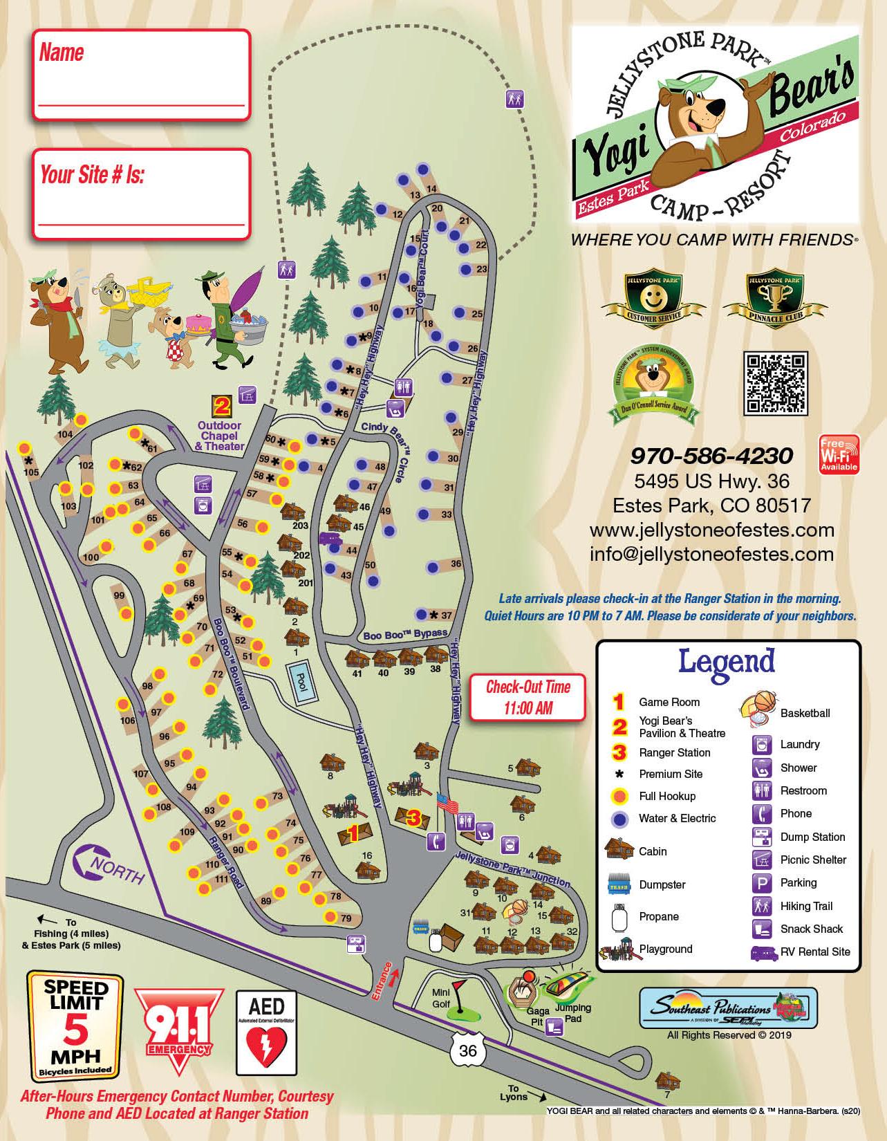 Park map 2020 at RV Park Estes CO